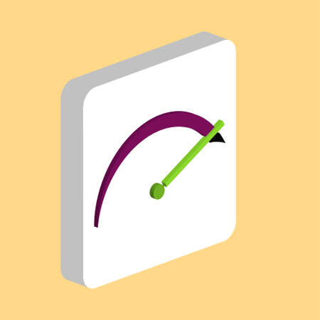 tachometer Simple vector icon. Illustration symbol design template for web mobile UI element. Perfect color isometric pictogram on 3d white square. tachometer icons for business project