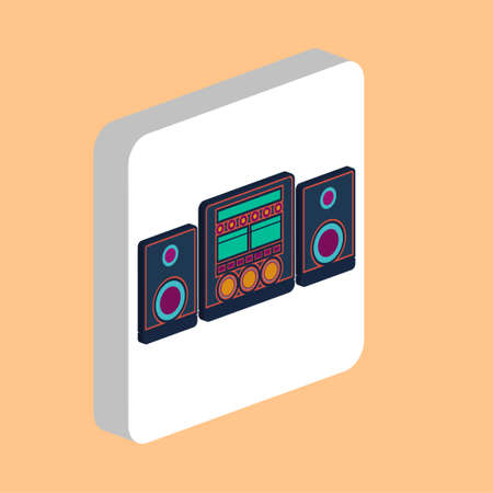 Sound System Simple vector icon. Illustration symbol design template for web mobile UI element. Perfect color isometric pictogram on 3d white square. Sound System icons for business project