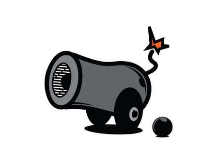 Cañón de dibujos animados de vectores Ilustración de vector