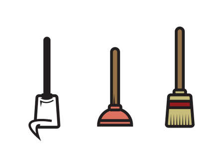 toilet brush: Three Vector Cleaning Utensils - Mop, Plunger and Broom...Oh My!