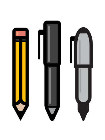 pen and marker: Three writing utensil icons - pencil, pen and marker. Illustration