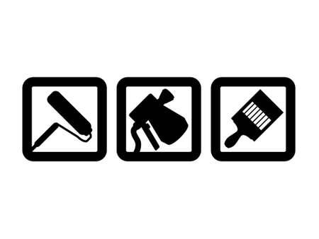Drie schilderij iconen - Roller, spuitpistool en verf penseel.  Vector Illustratie