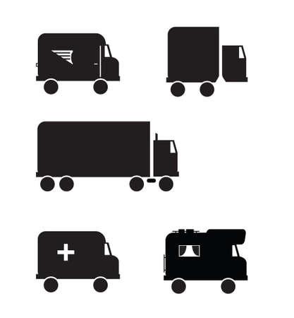 Black transportation vehicle icons. All unique services.