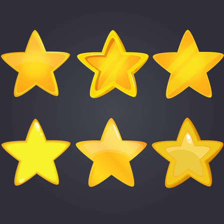 xp: Vector illustration.Set of Cartoon different Stars.Cartoon glossy isolated on a dark background. Game icon.design for app user interface and score display.et of wooden and golden