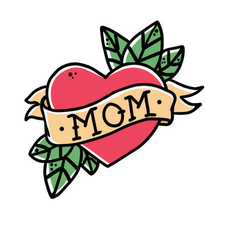 Tattoo Heart with ribbon and the word mom. Old school retro vector illustration.