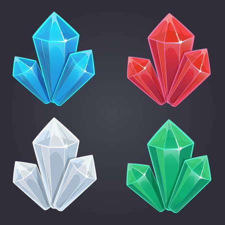 ruby: Diamond game. Crystals set, vector objects, isolated on dark background
