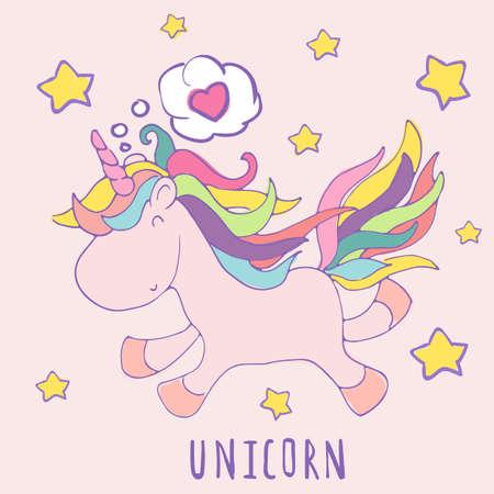 Liefde Eenhoorn, leuke vector cartoon. Happy birthday kaart met. Baby van Ontwerp Uitnodiging van de Douche, uitnodiging, vector design template