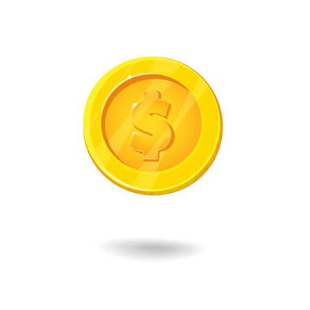 dime: Gold coin with dollar sign. game and apps.Money games. Vector illustration EPS 10 Illustration
