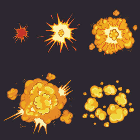 storyboard: Boom. Cartoon explosion animation frames for game. Sprite sheet on dark background.