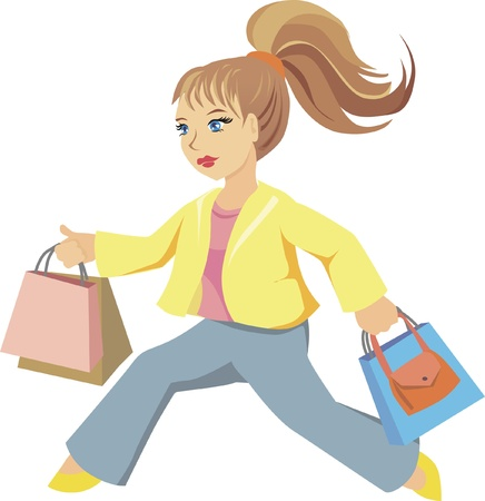 mujer: girl with bags running for shopping