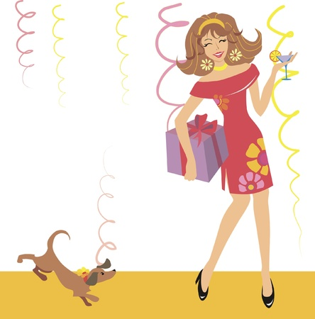 girl dancing on a party - card Vector