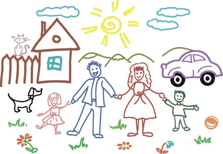 girl drawing: Child sketch in vector - family