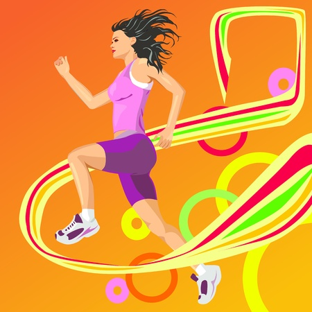 Running girl crossing finish line Vector