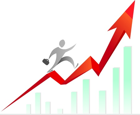 Man climbing the stairs, made of raising graph Vector