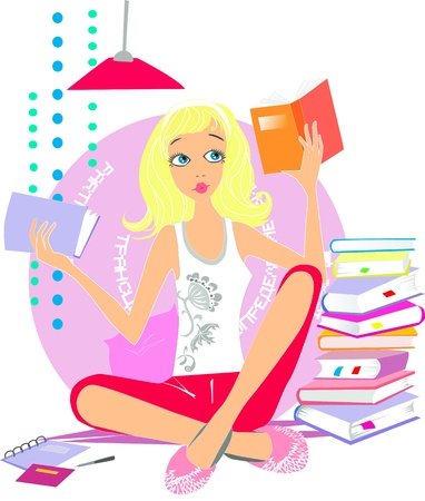 reading lamps: Girl reading books Illustration