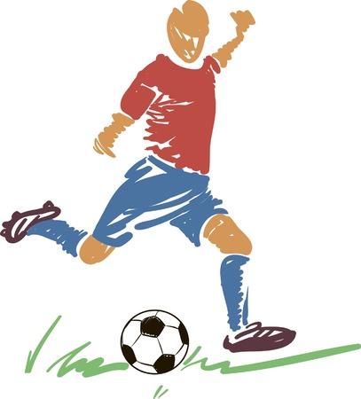 Resumen de fútbol (fútbol) jugador de Acción con una pelota. Vectores