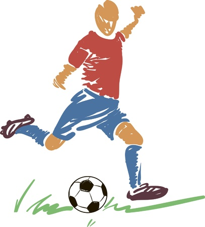 jugador de futbol soccer: Resumen de f�tbol (f�tbol) jugador de Acci�n con una pelota. Vectores