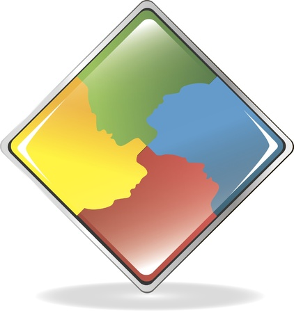 Communication icon with silhouettes of speaking people. Multi-colored. Vector