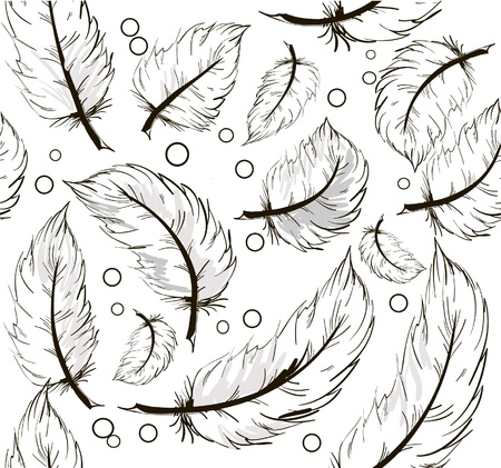 goose: Seamless background with feathers Illustration