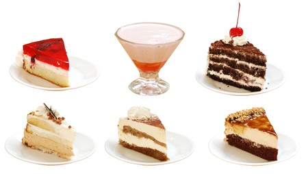 dainty: Many the cut out slices of pies with a cream