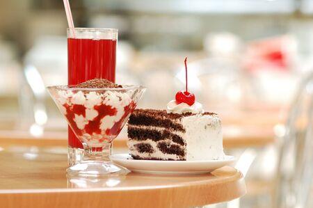 Sweet cherry torte and juice