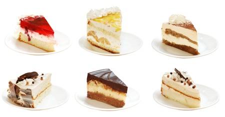Veel van de gesneden plakjes van taarten met een crème Stockfoto