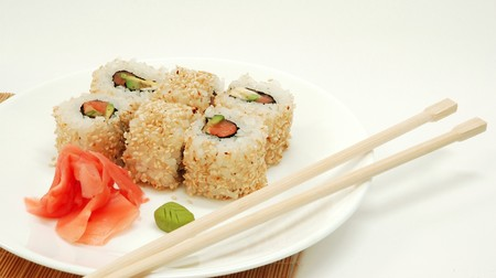 asian still-life with sushi on mat Stock Photo - 4407099