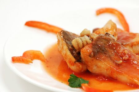 Fish stuffed with octopus dish Stock Photo
