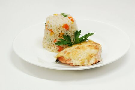 rice with fish under baked cheese