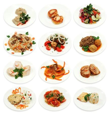 Collectie van verschillende foodl geïsoleerd op een witte achtergrond