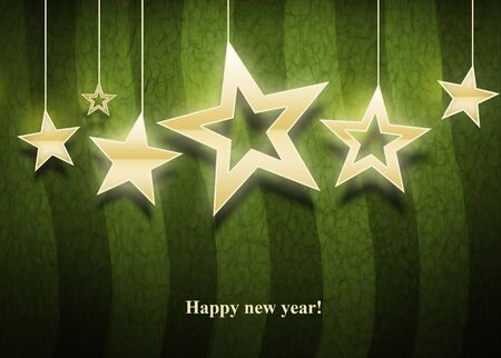 Three christmas  stars on green background