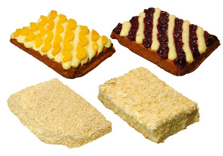 Collection of four cake with cream, with path