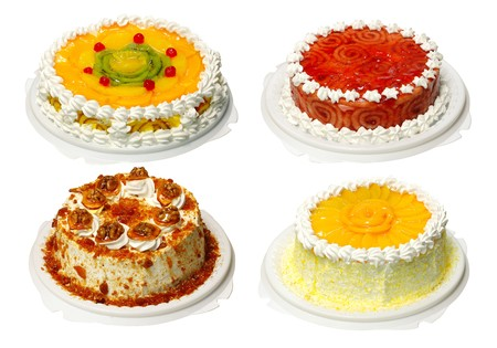 sweetness: Collection of four cake with cream, with path