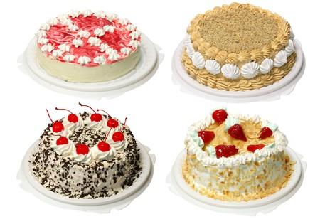 Collectie van vier taart met room, met pad Stockfoto