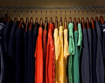 clothing rack: A picture of colorful dresses Stock Photo