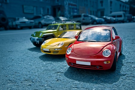 A picture of toy car models
