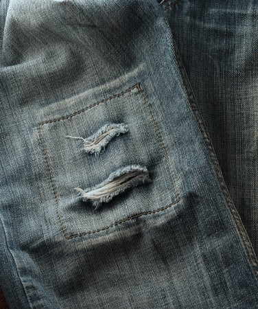 A piece of shabby jeans