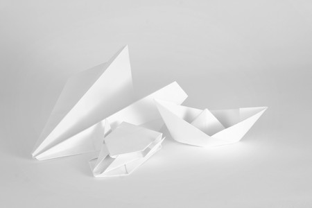 White paper objects on a white background