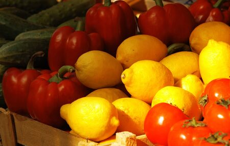 Various fresh vegetables and fruits at the market Stock Photo - 4566285