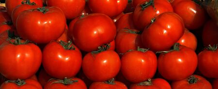 Fresh tomatos at the market Stock Photo