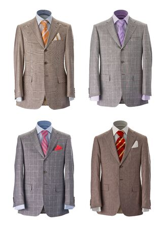 Four mens jackets on a white background Stock Photo