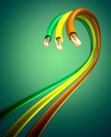kleurrijke koperen kabels Stockfoto