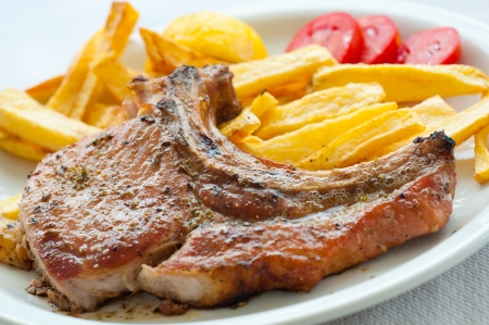 rack of lamb: Lamp chop with french fries Stock Photo