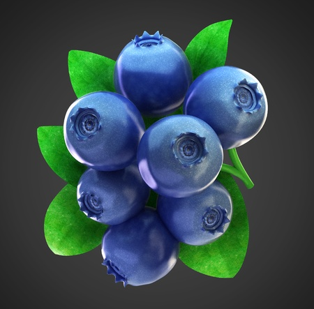 Ripe fresh blueberries with clipping path