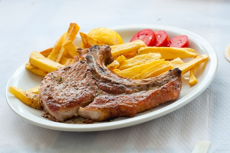 Lamp chop with french fries Stock Photo