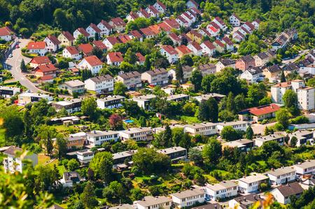 Rand van de stad, bovenaanzicht. Stockfoto