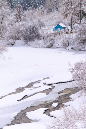 Eenzaam huis in besneeuwde bossen