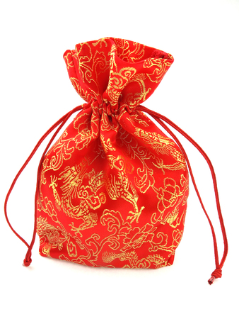 Red cloth bag on a white background