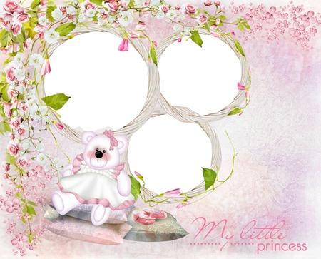 Children frame with teddy bear for a little girl photo