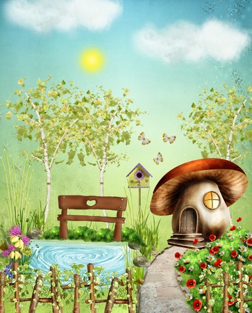 fairy garden: Fairy Garden - Colorful illustration with a pond, grass, sun and flowers